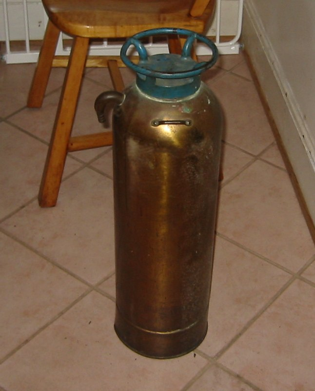 brass vintage fire extinguisher